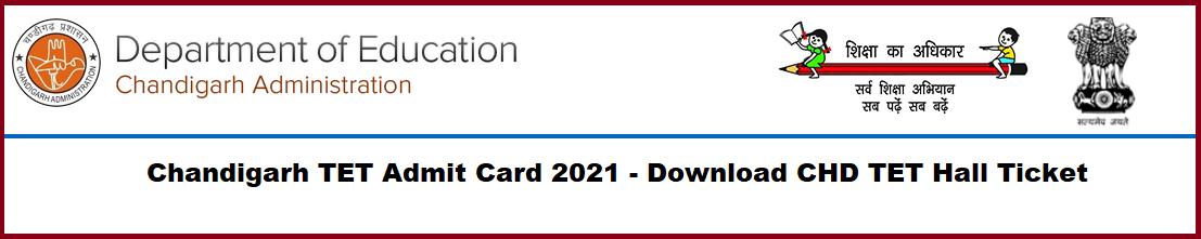 Chandigarh TET Admit Card