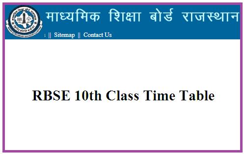 RBSE 10th Date Sheet