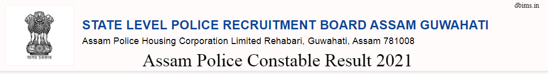 Assam Police Constable Result 2021