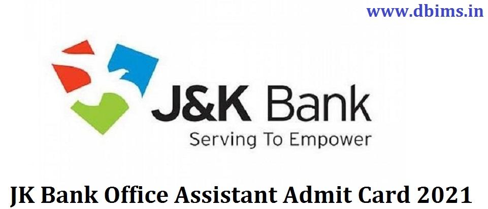JK Bank Office Assistant Admit Card 2021