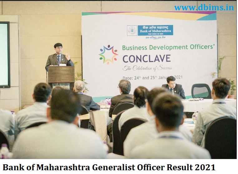 Bank of Maharashtra Generalist Officer Result 2021