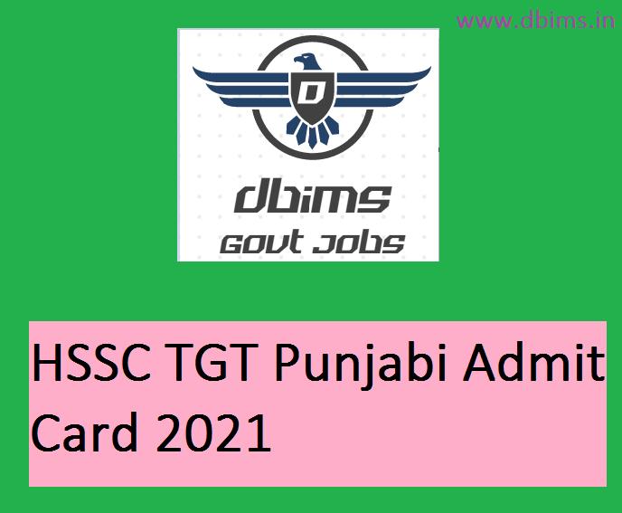 HSSC TGT Punjabi Admit Card 2021