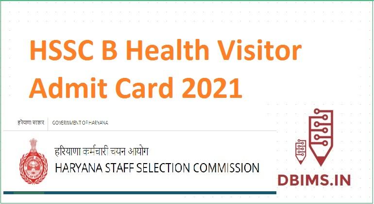 HSSC B Health Visitor Admit Card 2021
