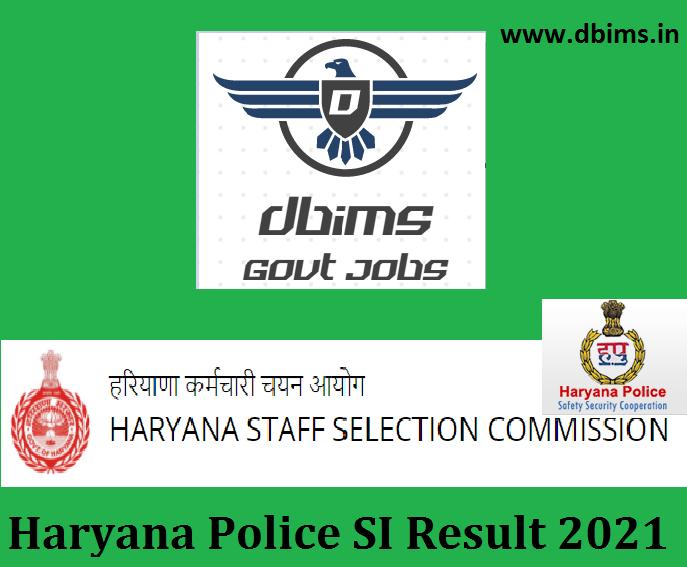 Haryana Police SI Result 2021