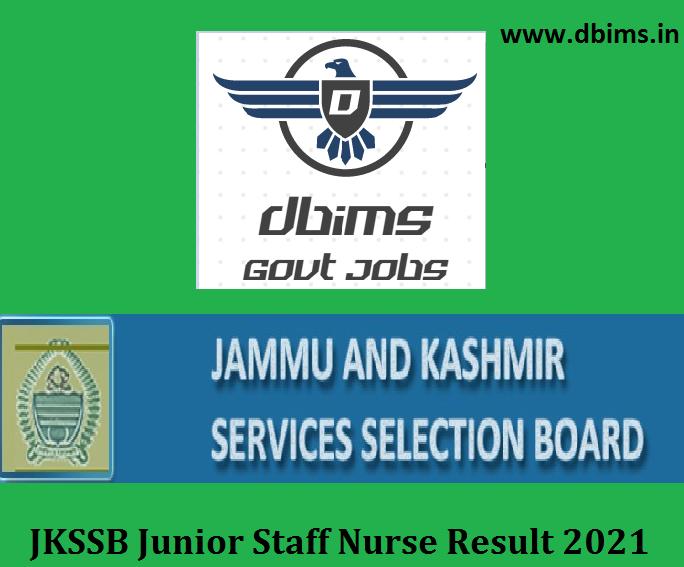 JKSSB Junior Staff Nurse Result 2021