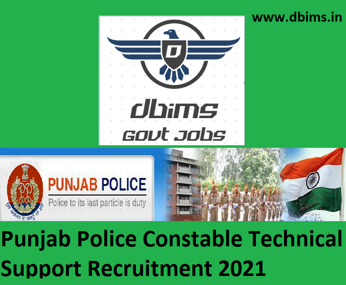 Punjab Police Constable Technical Support Recruitment 2021