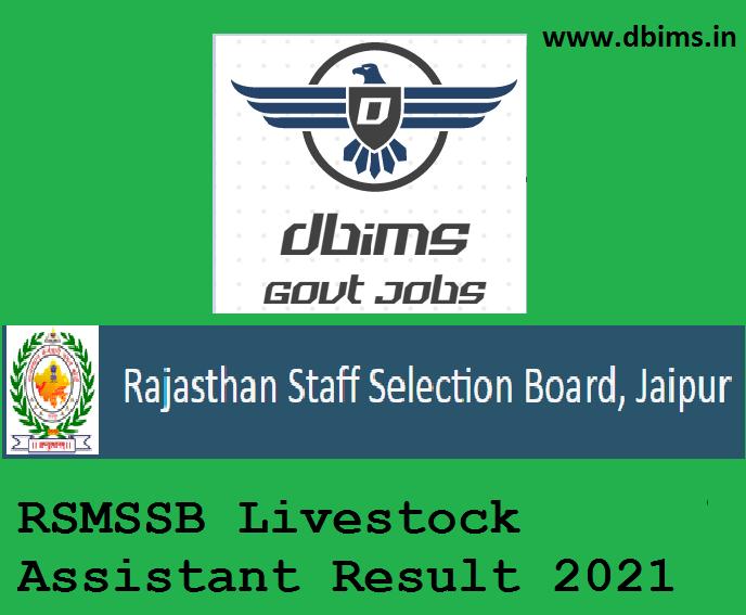 RSMSSB Livestock Assistant Result 2021