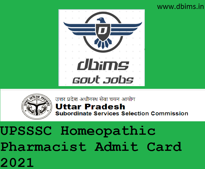 UPSSSC Homeopathic Pharmacist Admit Card 2021