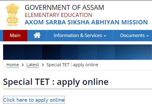 Assam TET Application Form