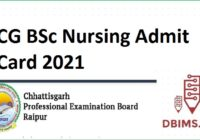 CG BSc Nursing Admit Card 2021
