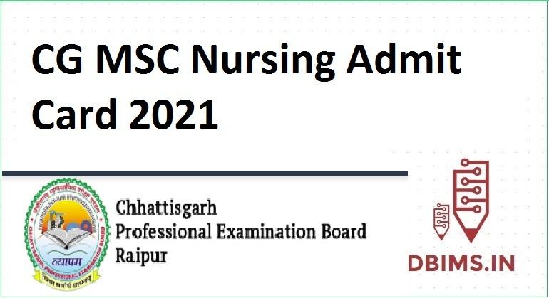CG MSC Nursing Admit Card 2021