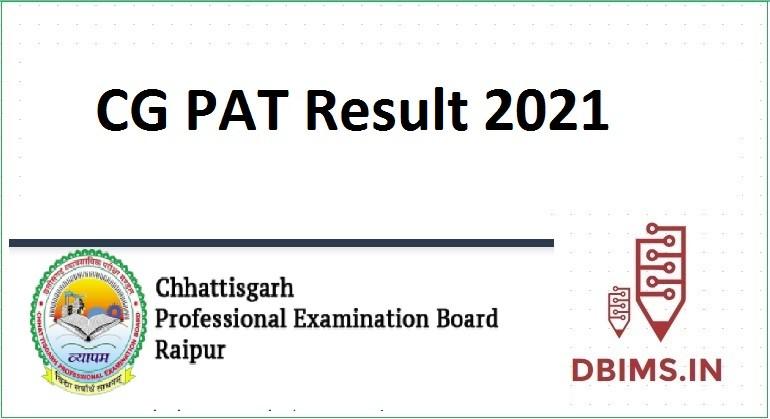 CG PAT Result 2021