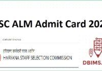 HSSC ALM Admit Card 2021