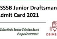 PSSSB Junior Draftsman Admit Card 2021