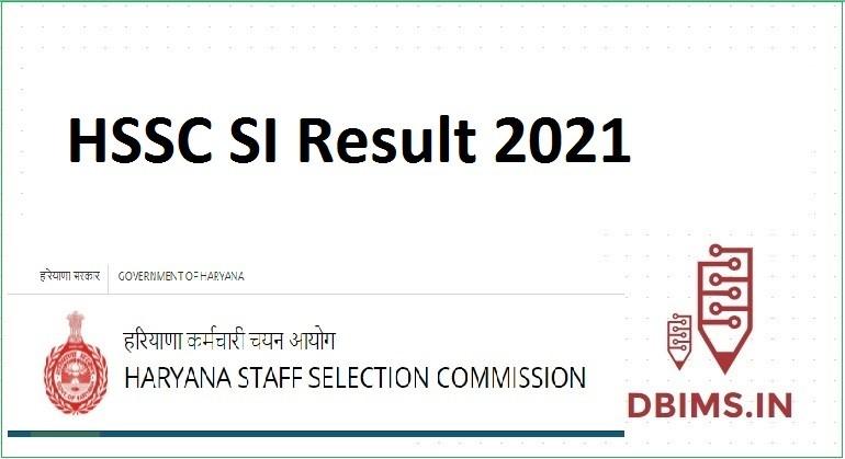 HSSC SI Result 2021