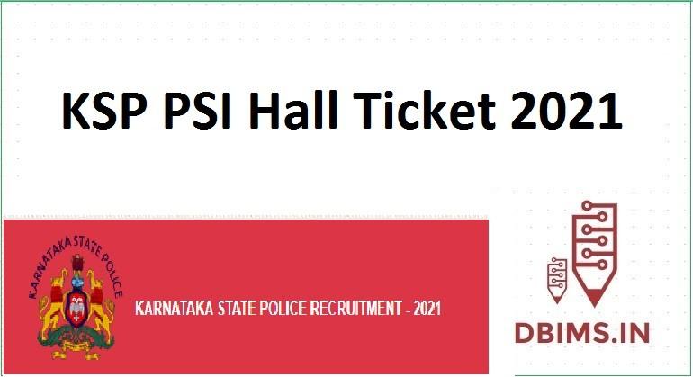 KSP PSI Hall Ticket 2021
